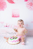 Cake Smash Photo Backdrop - Birthday Buffet Table Photography Backdrop - Pink Girls Birthday Photo Backdrop - Item 1769