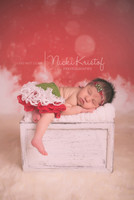 Snowflake Photography Backdrop - Christmas Snow Photo Backdrop - Red Holiday Photo Prop - Item 1778