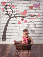 Lovebirds in Tree with Birdcage Photography Backdrop - Item 1831