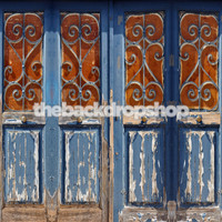Row of Old Wood Doors Photography Backdrop - Item 1869
