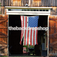 American Flag Hanging in Barn Photography Backdrop - Item 1883