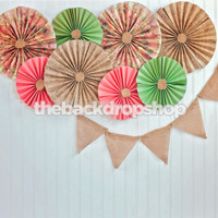 Pinwheels Photography Backdrop - Bunting Banner Over White Wood Wall Photo Backdrop - Paper Fans - Exclusive Design! - Item 1978