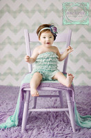 Mint Green Gingham Chevron Photography Backdrop - Pastel Newborn Photo Back Drop - Item 1992