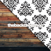Black and White Damask Wallpaper / Dark Brown Wood Floor - Items 101 & 384