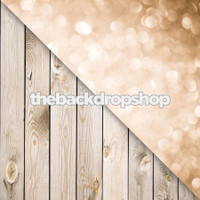 Champagne Bokeh Wall / White Plank Wood Floor - Items 1036 & 157