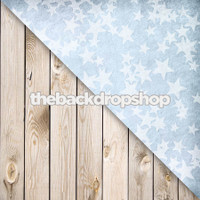 Blue Stars / Weathered White Wood Floor - Items 1143 & 157