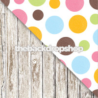Big Colorful Dots / Faded White Wood Floor - Items 1319 & 1371