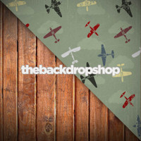 Airplane Theme Wallpaper / Dark Wood Floor - Items 1437 & 1111