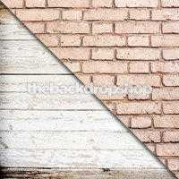Weathered White Painted Wood / Pink Brick Wall Backdrop - Items 1754 & 793