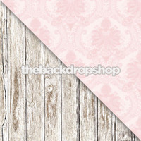 Pink Damask / Whitewashed Wood Floor - Items 169 & 1371