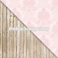 Pink Damask Wallpaper / Whitewashed Wood Floor - Items 169 & 158