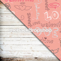Pink Photography Backdrop / Weathered White Wood - Items 1754 & 1077