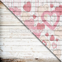 Painted Hearts on White Brick / Weathered White Wood - Items 1754 & 1808