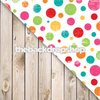 Colorful Polka Dots / White Plank Wood Floor - Items 190 & 157