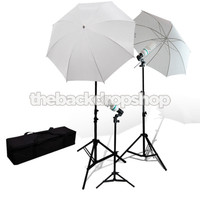 675 Watt Photo Studio Umbrella - Continuous Triple Lighting Kit with Case - Photography Studio Equipment