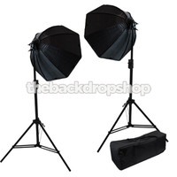 2 Softbox Studio Video Photo Lighting Softbox - Light Stand Bag Kit - Photography Studio Equipment
