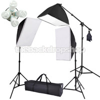 2000w Photography 3 Softbox Boom Stand Continuous Lighting Kit