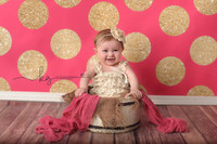 Hot Pink and Gold Glitter Polka Dot Photo Background - Exclusive Design - Item 2134