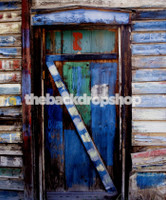 Grunge Painted Blue Door Photography Backdrop - Vinyl or Poly Photo Backdrop - Item 1543