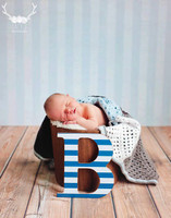Light Blue Stripe Photography Backdrop - Boys Background for Photos - Exclusive Design - Item 1947