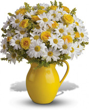 "Let's hear it for yellow spray roses and cheerful yellow and white daisy spray chrysanthemums plus solidago delivered in an exclusive keepsake vase. Approximately 14"" W x 16"" H"