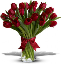 "Twenty romantic red Tulips arranged in a clear glass vase. Approximately 12"" W x 14"" H"