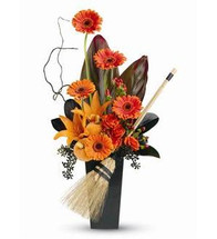 "Fly away on a witch's broom of fun this Halloween. Send this dark 'n' bright gift of orange blooms and black accents, adorned with pumpkins and a broom made of wheat, and you'll sweep someone off their feet! A playful ""thinking of you"" gift."