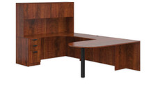 ADC AMERICAN DARK CHERRY - U SHAPED DESK SET WITH PENINSULA TABLE AND HUTCH