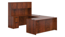 ADC AMERICAN DARK CHERRY - U SHAPED DESK SET WITH HUTCH