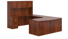 ADC AMERICAN DARK CHERRY - U SHAPED BOW FRONT DESK SET WITH HUTCH