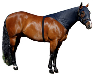 """If you are looking for a great product to train the mane without using a halter or sheet and you do not want to cover your horse's shoulders, try the Sleazy Brief. Along with our """"Seamless Face"""" design this product allows the mane to be trained and stays on without the use of a halter to secure it. The Brief is available in 6 sizes and comes standard with a full separating zipper. It is made of nylon spandex and is available in Black only."""