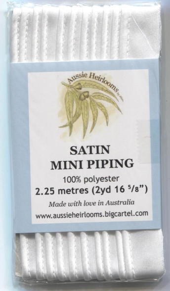 Satin Piping by Aussie Heirlooms in  White