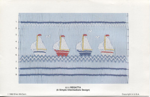 Regatta sail boat Smocking plate by Ellen McCarn