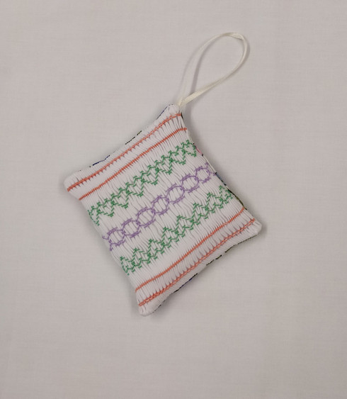 Ready to smock hanging pot pourri kit - includes pre-pleated fabric, threads, needle and step by step instruction for all the stitches plus construction - scented insert not included