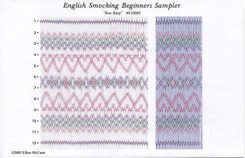 English Smocking Beginners Sampler smocking Plate by Ellen McCarn