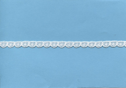 A very narrow white edging lace 7 mm wide