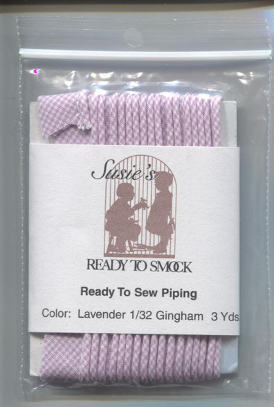 Susie's Ready to Sew Gingham piping in Lavender