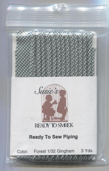 Susie's Ready to Sew Gingham piping in Forest