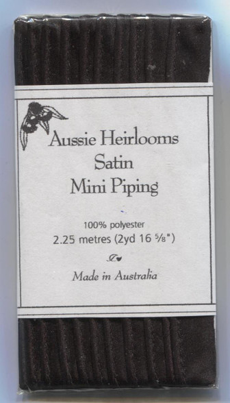 Aussie Heirloom Satin Piping in Black