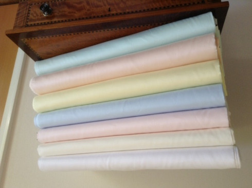 100% Pima Cotton Satin Batiste in 7 colours, ideal for Antique Dolls clothes  and baby wear