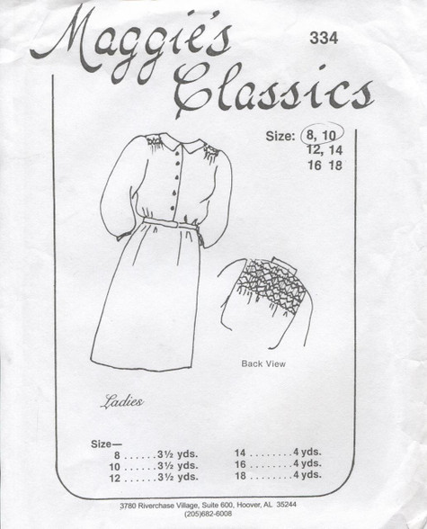 Smocked Shirt dress by Maggie's Classics 8-10