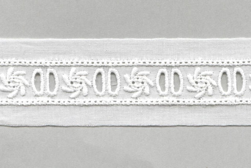 Swiss embroidered ribbon hole insertion trim - sold per metre