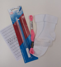 Smocked Sock kit - contains socks, thread, water erasable pen, lace instructions and smocking design