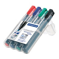 Staedtler Lumocolor Permanent Chisel Point Marker - Box of 4 Assorted - 2-5mm