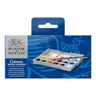 Winsor & Newton Cotman Watercolour Sketchers Pocket Box Set of 12 Half Pans and Brush