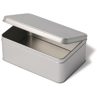 Rectangular Silver Tinplate Container - 187mm x 126mm x 75mm