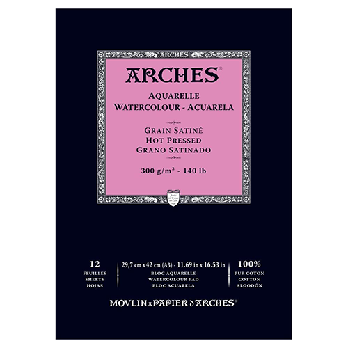 Arches Watercolour Pad Hot Pressed (Smooth) 300GSM - A3