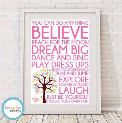 Product image of Words For Girls Print
