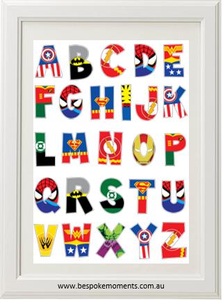 Superhero Alphabet Print