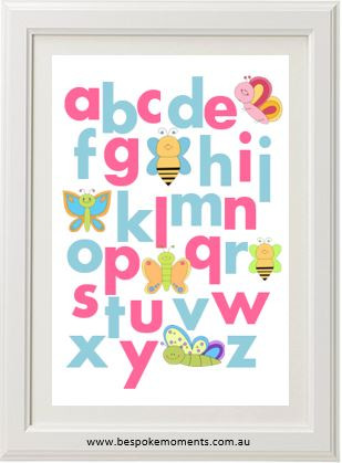 Product image of Butterfly & Bees Alphabet Print